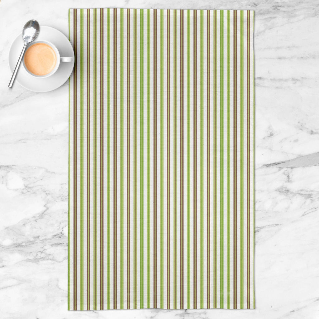 Woodland Stripe Tea Towel in Green / Brown - Melissa Colson