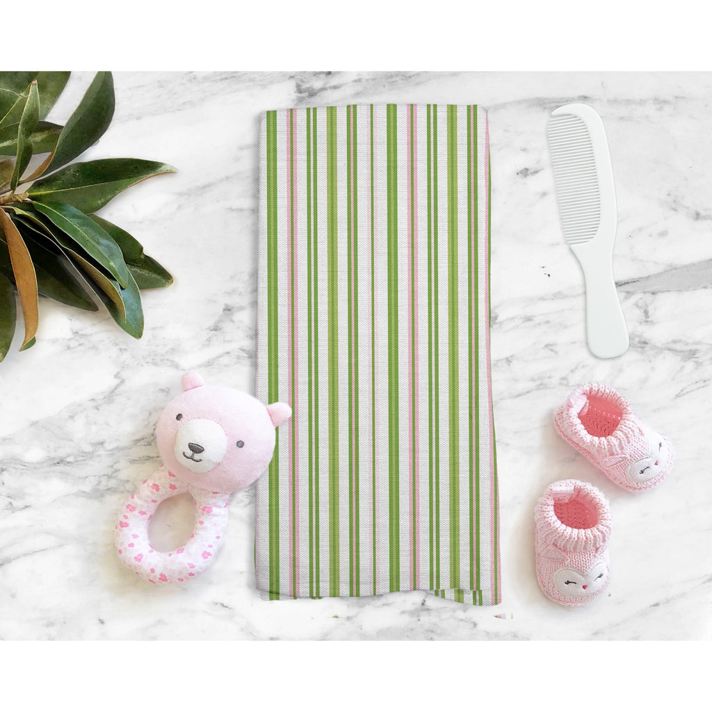 Woodland Stripe Tea Towel in Green / Pink - Melissa Colson
