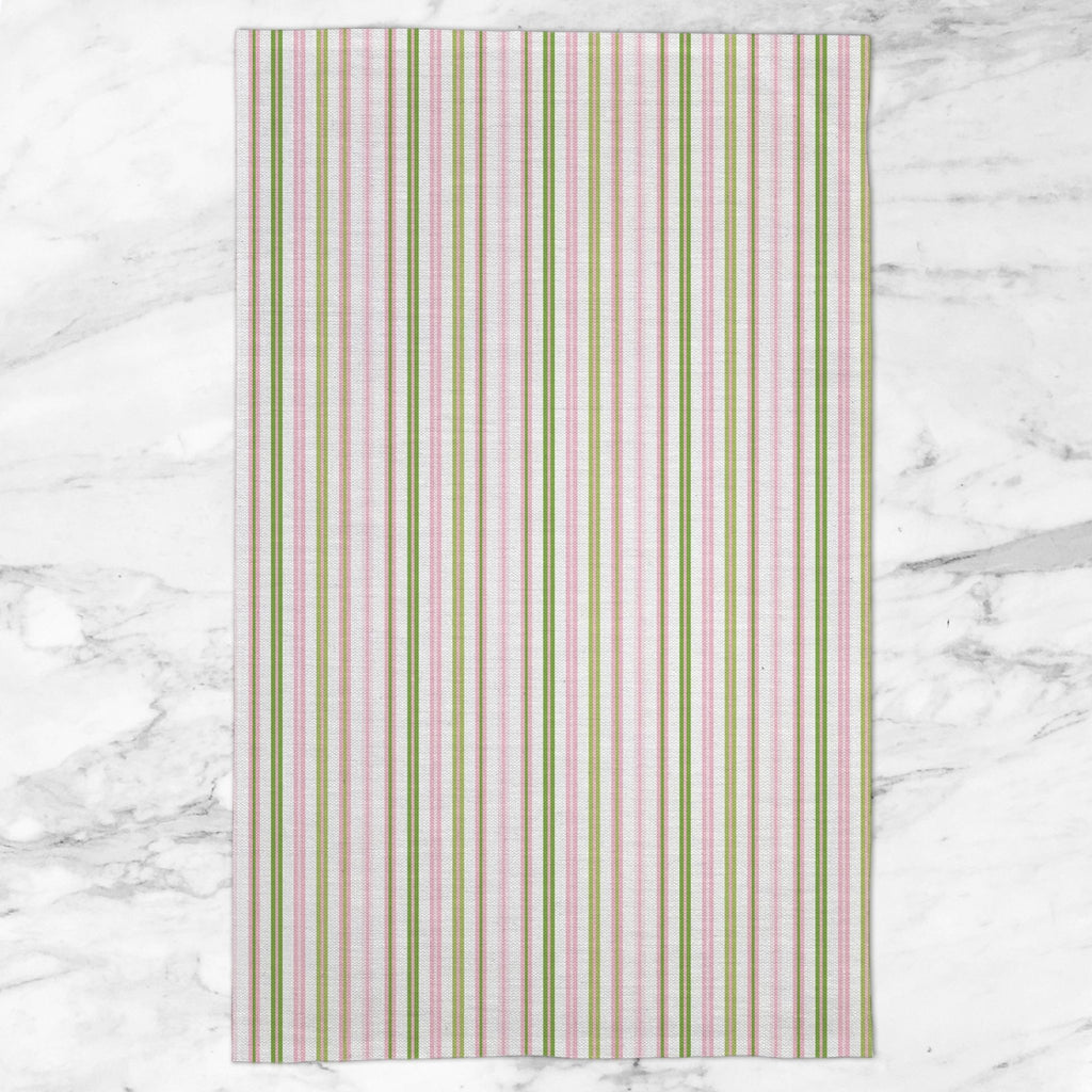 Woodland Stripe Tea Towel in Pink / Green - Melissa Colson