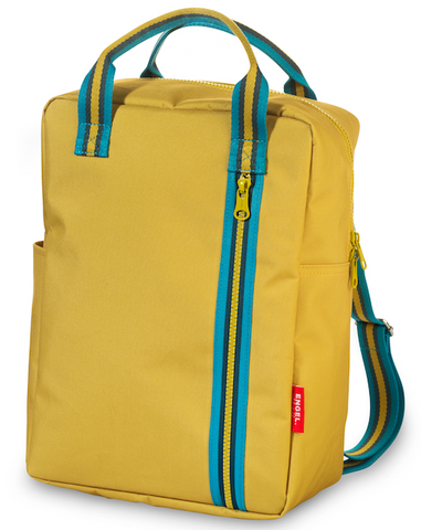 Yellow backpack for teens made from recycled plastic by Engel