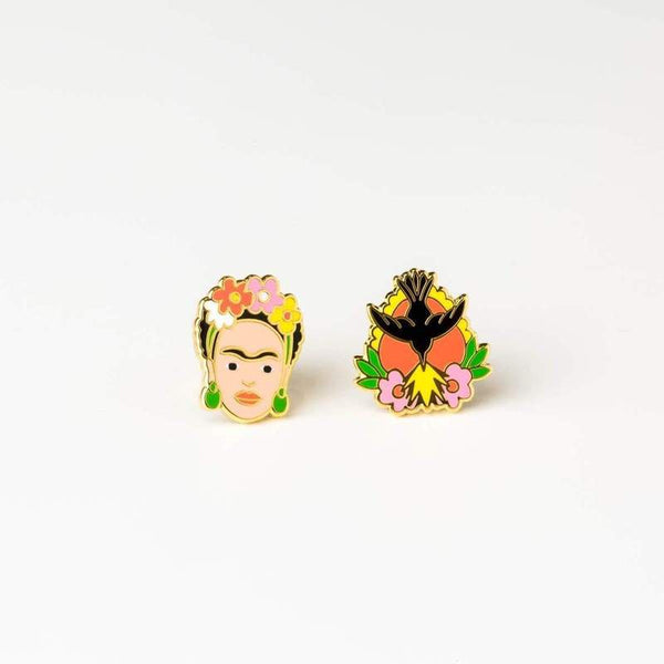 Quirky and elegant earrings inspired by artist Frida Kahlo