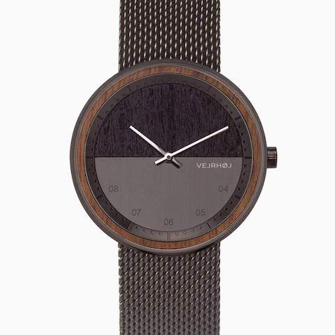 The Gun Gunmetal & Walnut Wood Watch by VEJRHØJ, with stainless steel watch & mesh band, and wooden gift box.