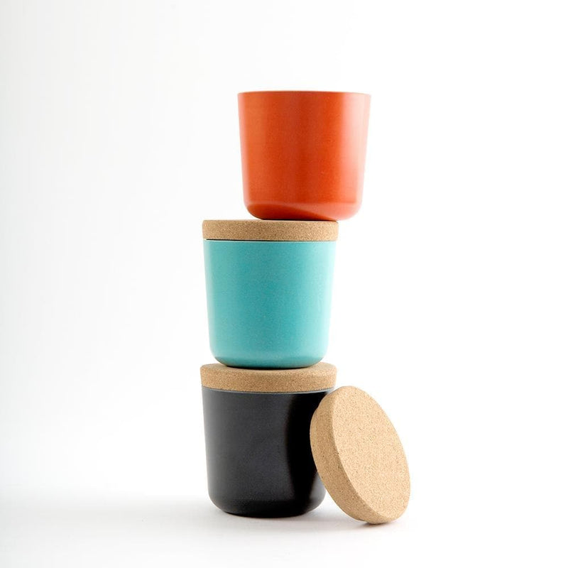Bamboo Storage Jar Set - Small-Food Container-Ekobo-Small-Persimmon/Black/Lagoon-Totem Store