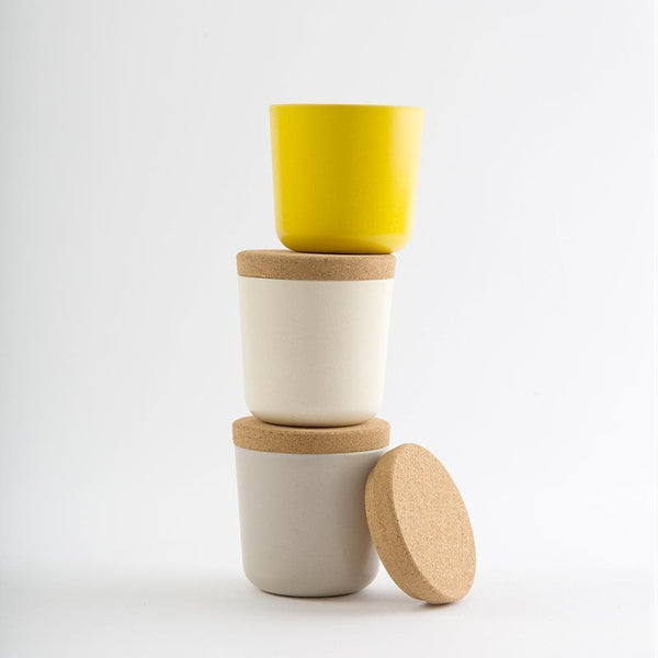Bamboo Storage Jar Set - Small-Food Container-Ekobo-Small-Stone/White/lemon-Totem Store