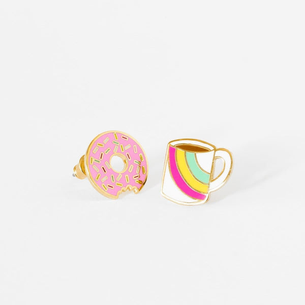 Coffee & Donut Earrings-Studs Earrings-Yellow Owl Workshop-Totem Store