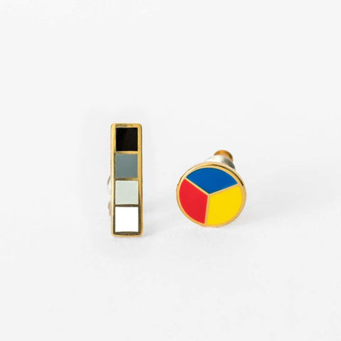 Color Wheel & Grayscale Earrings-Studs Earrings-Yellow Owl Workshop-Totem Store