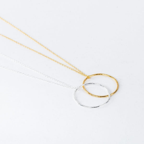 Gold Hammered Hoop Necklace-Pendant-One & Eight-Totem Store
