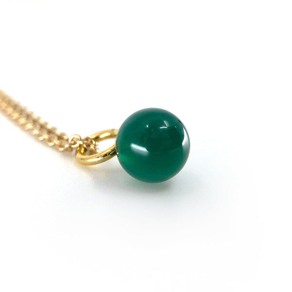 Green Agate Drop - Gold Plated - Drop Pendant - Yab Studio - Totem Store