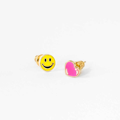 Happy Face & Heart Earrings-Studs Earrings-Yellow Owl Workshop-Totem Store