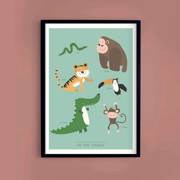 In the Jungle Kids Poster - Infographic Print - Kunskapstavlan - Totem Store