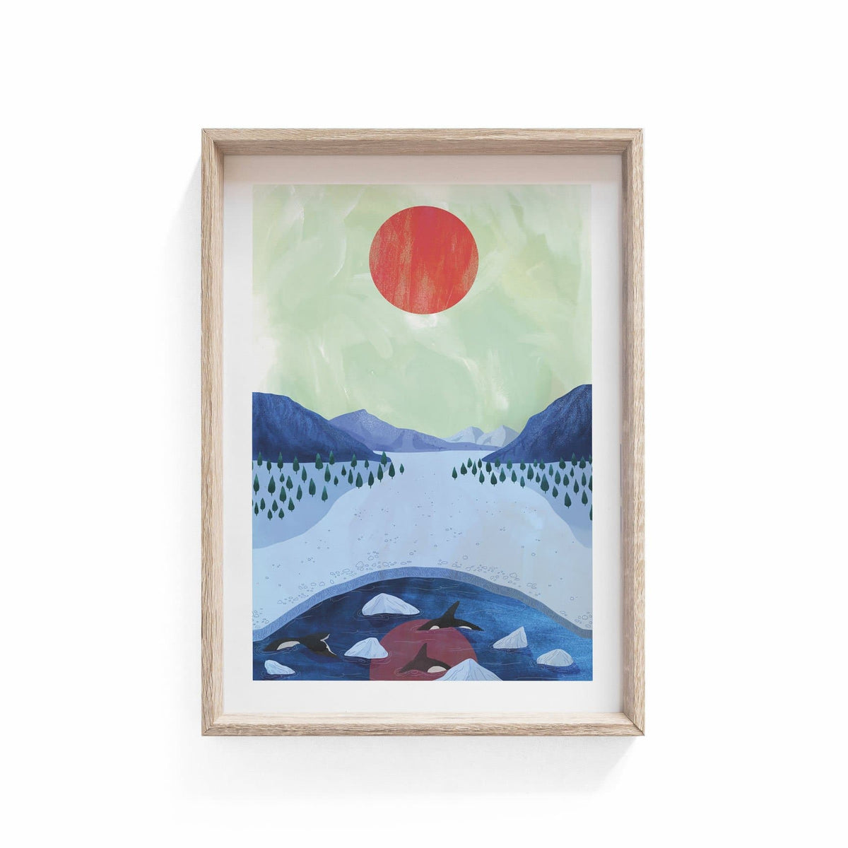 Orcas Illustration Print-Illustration-Hello Grimes-A3-Totem Store
