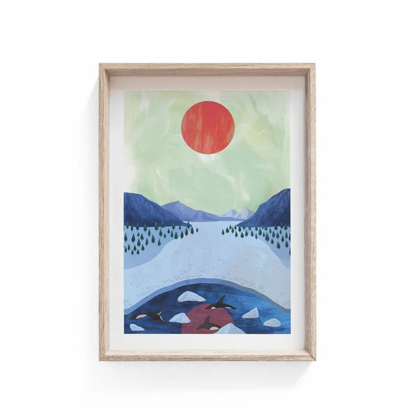 Orcas Illustration Print - Illustration - Hello Grimes - Totem Store