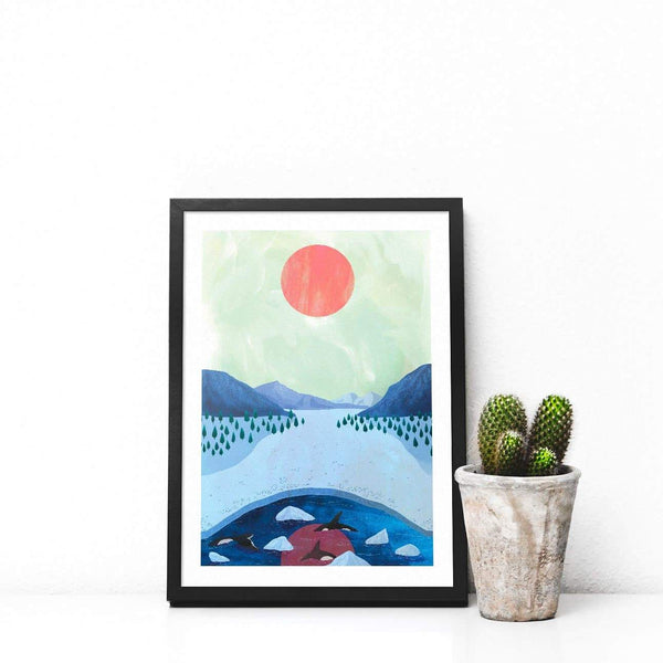 Orcas Illustration Print-Illustration-Hello Grimes-A4-Totem Store