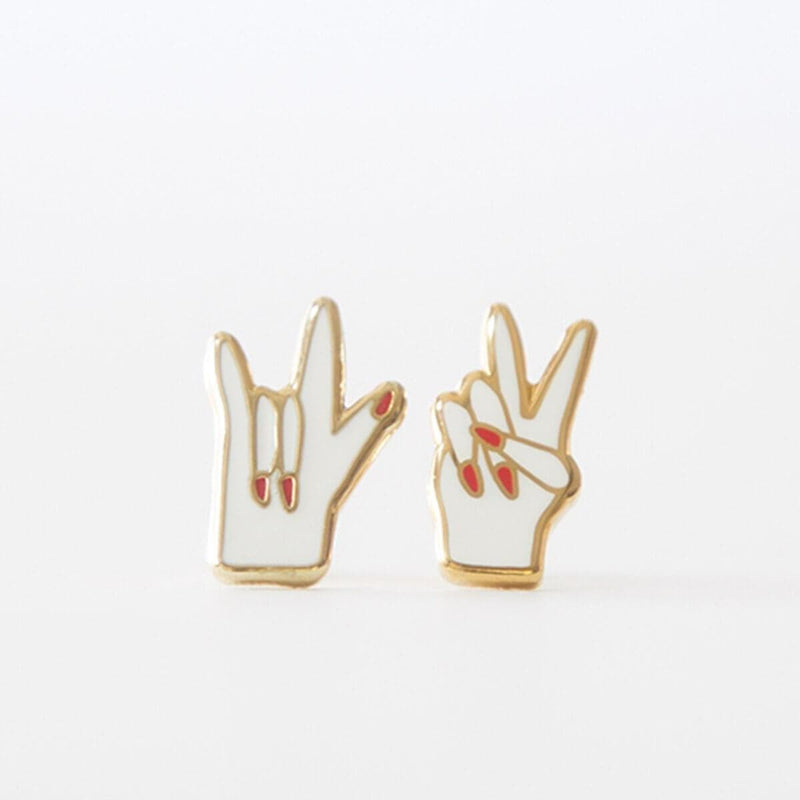 Peace & Love Earrings-Studs Earrings-Yellow Owl Workshop-Totem Store