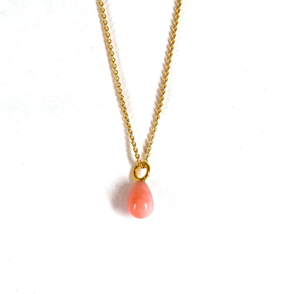 Pink Opal Teardrop - Gold Plated - Drop Pendant - Yab Studio - Totem Store