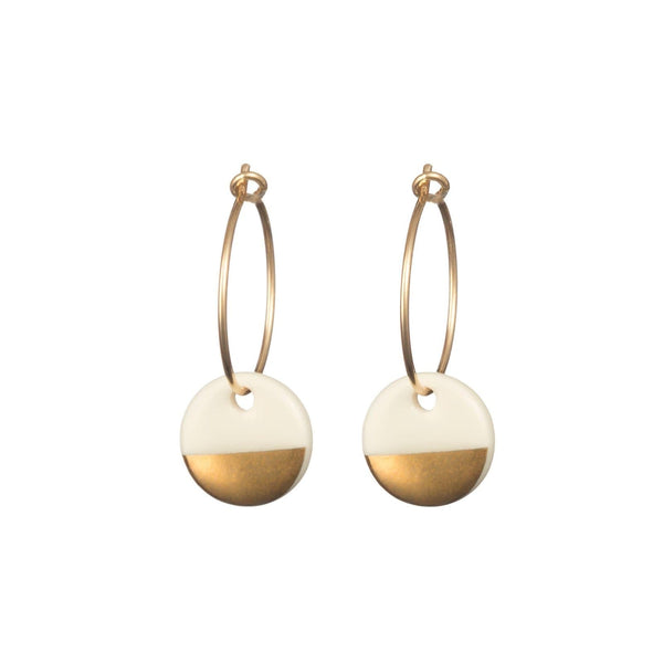 Porcelain Gold Dipped Earrings-Hoop Earrings-One & Eight-Totem Store
