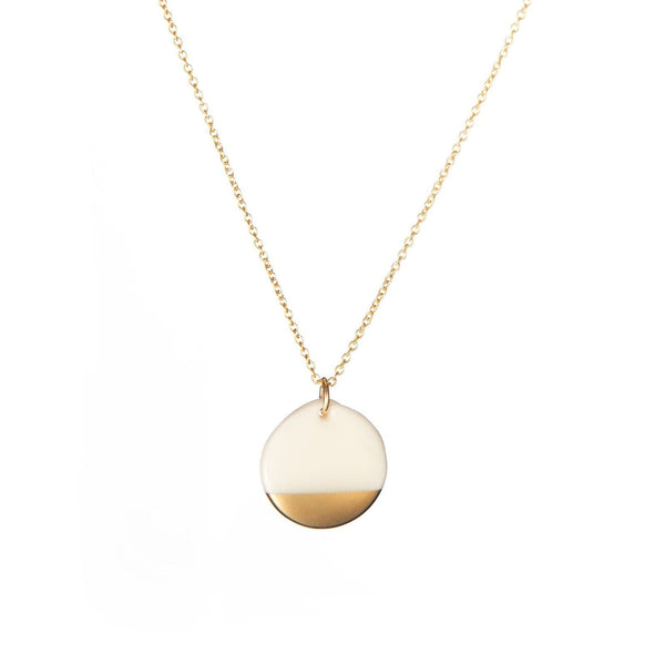 Porcelain Gold Dipped Necklace-Pendant-One & Eight-Totem Store