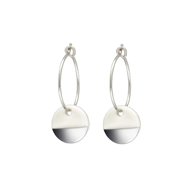Porcelain Silver Dipped Earrings-Hoop Earrings-One & Eight-Totem Store