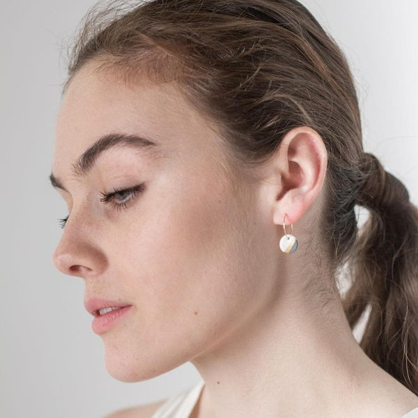 Porcelain Slate Grey Ray Gold Earrings-Hoop Earrings-One & Eight-Totem Store