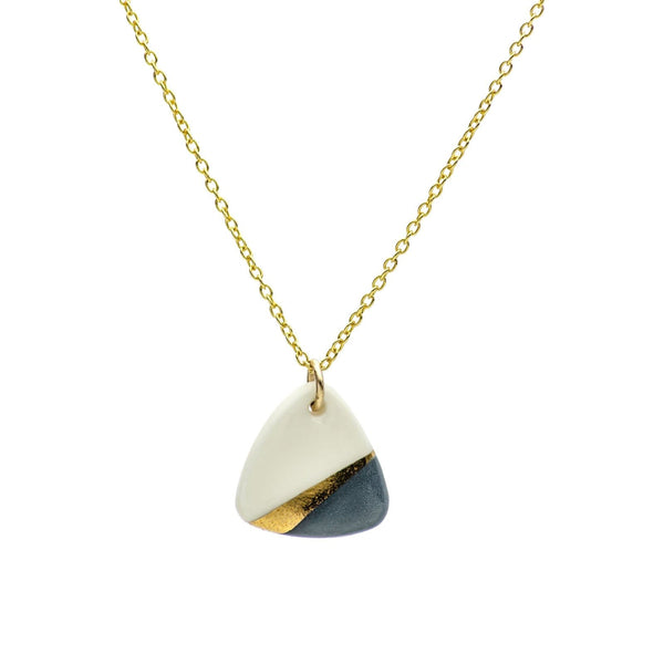 Porcelain Slate Grey Ray Gold Necklace-Pendant-One & Eight-Totem Store