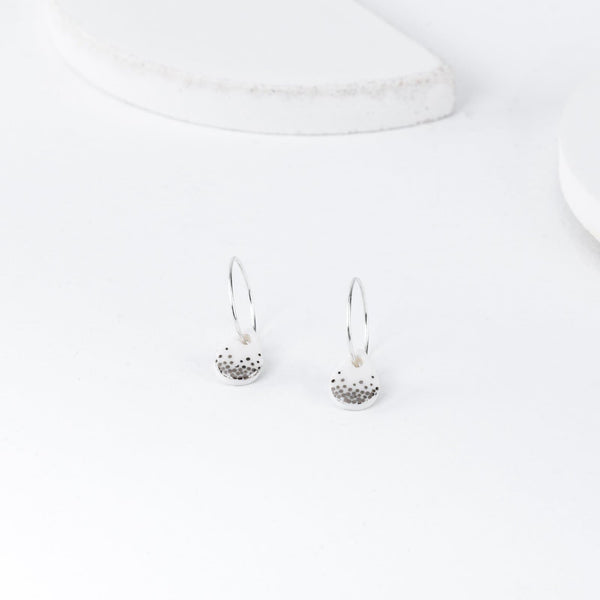 Porcelain White Raindrop Silver Earrings-Hoop Earrings-One & Eight-Totem Store