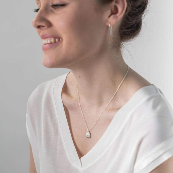 Porcelain White Raindrop Silver Necklace-Pendant-One & Eight-Totem Store