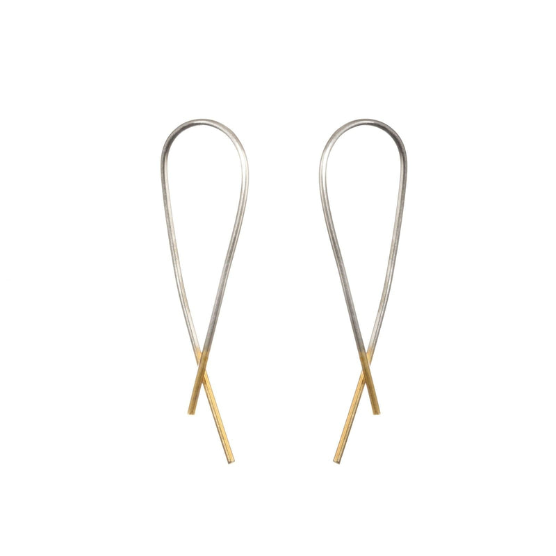 Silver & Gold Dipped Crossover Earrings-Hoop Earrings-One & Eight-Totem Store