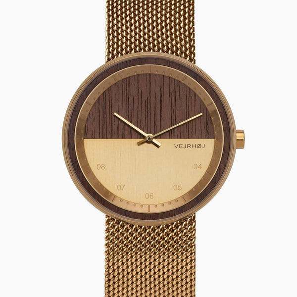 The Gold - Split Dial Gold & Walnut Wood Watch - Watch - VEJRHØJ - Totem Store