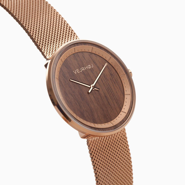 The Rose - Rose Gold & Walnut Wood Watch - Watch - VEJRHØJ - Totem Store