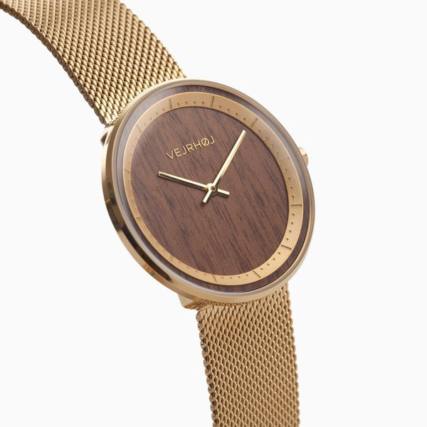 The Sun - Gold & Walnut Wood Watch - Watch - VEJRHØJ - Totem Store