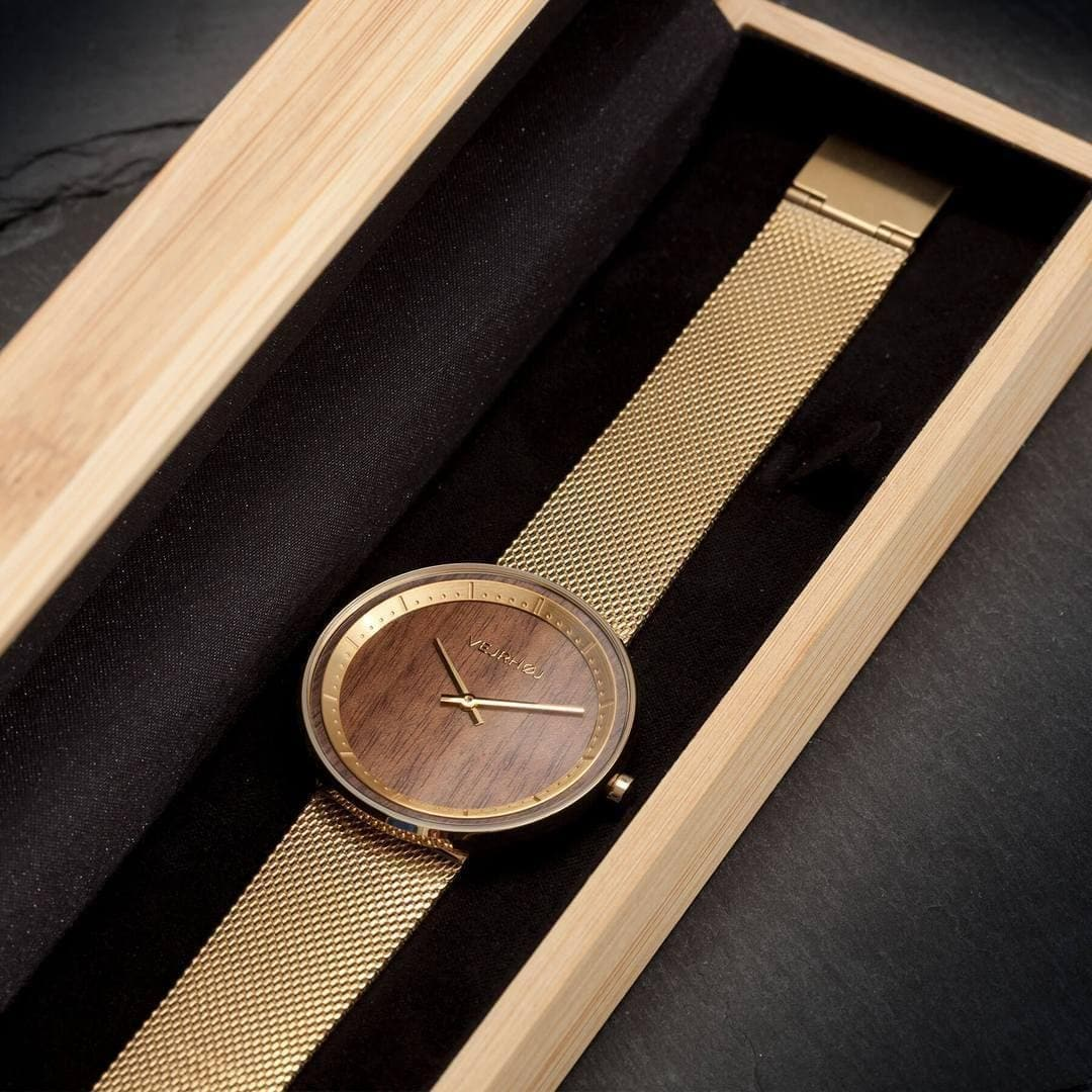 The Sun - Gold & Walnut Wood Watch-Watch-VEJRHØJ-Totem Store