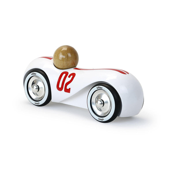 White vintage streamline car-Car Toy-Vilac-Totem Store