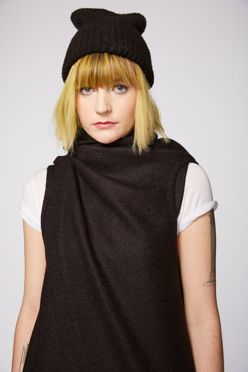 BLACK KNIT CASHMERE BODY SCARF