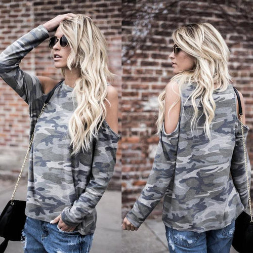 Long Sleeve Off Shoulder Camo Top - bluepier