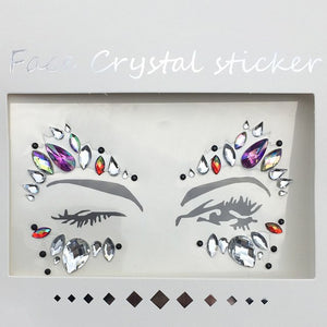 Temporary Crystal Face Tattoo Stickers. 3D Glitter Face Gems. - bluepier