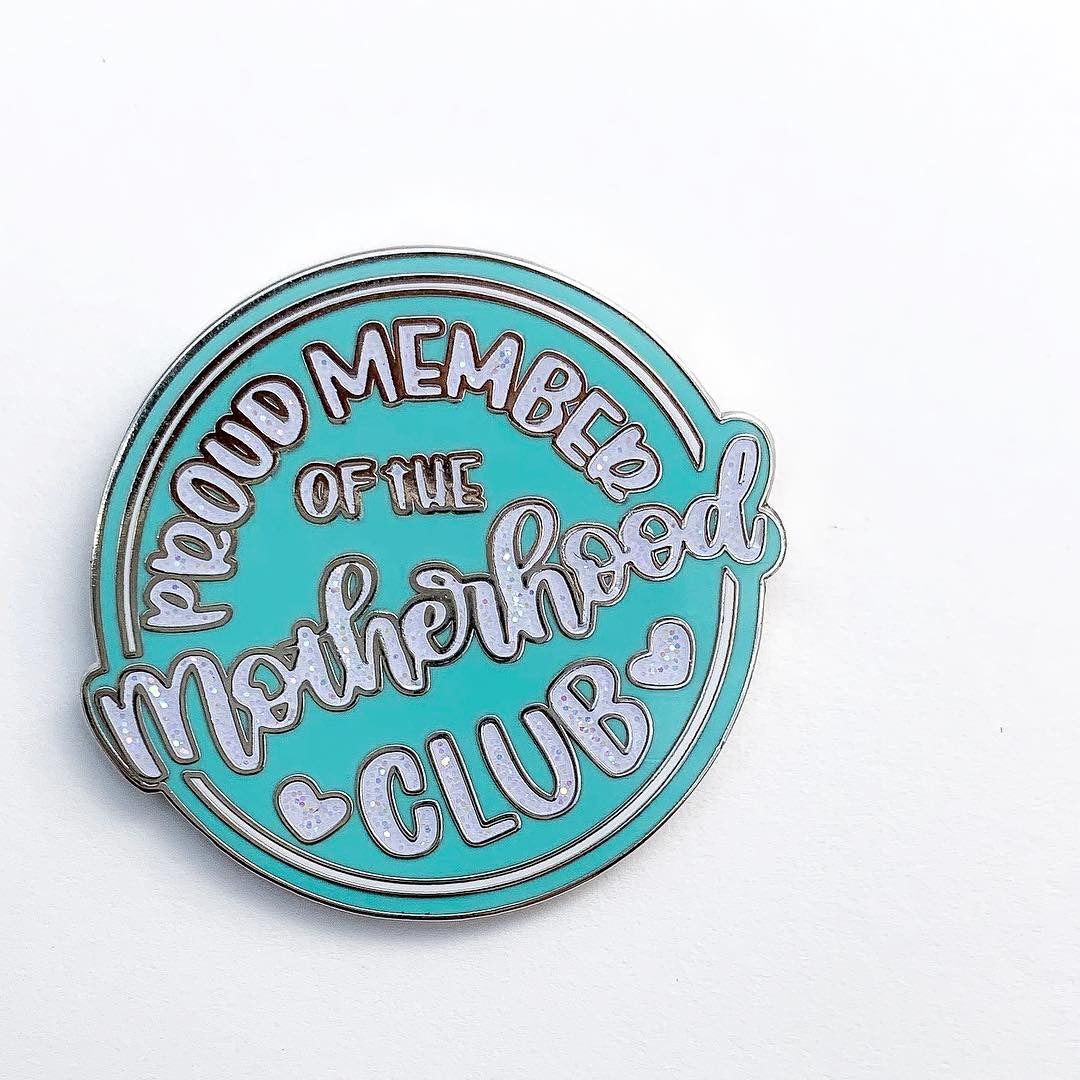 Proud Member of the Motherhood Club Pin - Teal and White Glitter Enamel