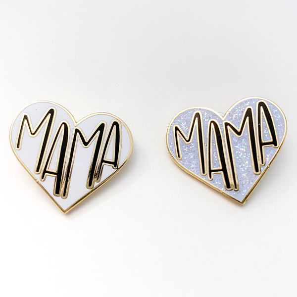 Mama Heart Pin - Glitter Enamel or White Enamel