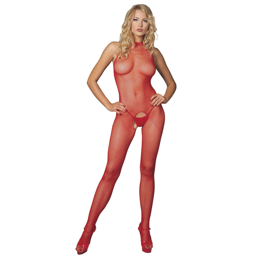 Red Seamless High Neck Halter Bodystocking