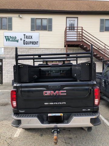 Custom built truck rack with high side boxes