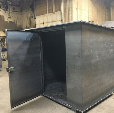 Steel Sheds. Custom built steel meter boxes. Custom built steel water sheds.