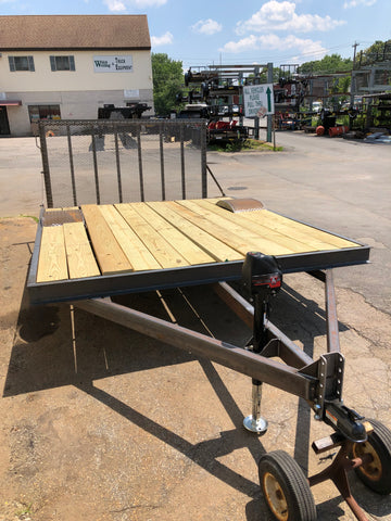 Single axle custom built deck over trailer. Welch Welding and Truck Equipment, Inc. Custom built utility trailer.