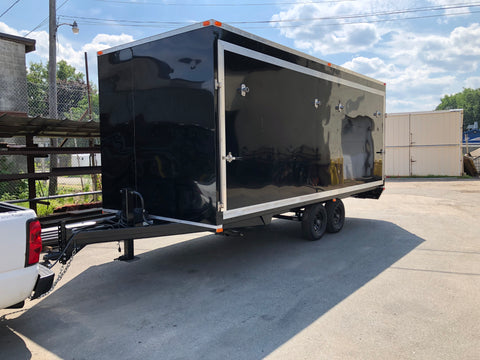 Custom built enclosed stage trailer