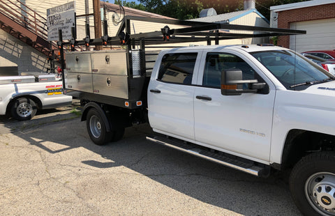 Custom built truck rack with high side tool boxes