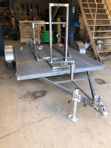 Custom built single axle utility trailer with diamond plate flooring