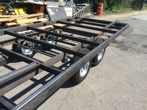 Custom built deck over tandem axle trailer