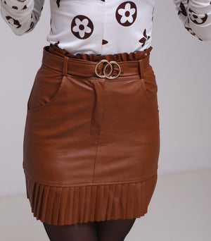 Nelli brown leather skirt