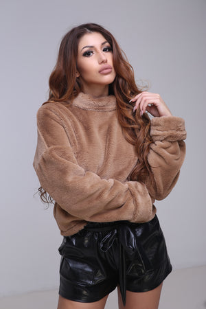 Boo Brown - Brown fluffy soft furry sweater