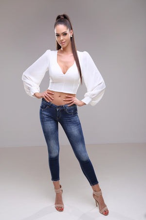 Liliana - crop blouse with knit back