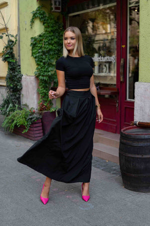 Cream Black - Black maxi skirt