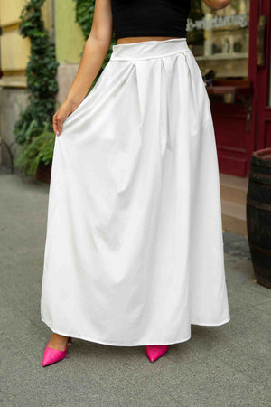 Cream White - White maxi skirt